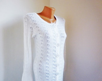White women cardigan, Long Lace vest, Vintage gentle vest, Cotton ladies vest