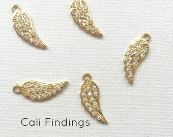 18K Gold Plated Cz Pave Wing Charm, Angel Wing Pendant, Angel Charm, Leaf Charm, Small Gold Wing, Gold Wing, Cz Wing, Pave Wing [1285]