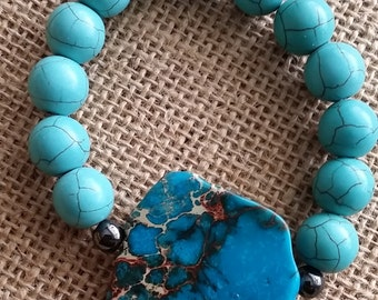 Blue Imperial Jasper, Hematite, Turquoise, stretch bracelet.