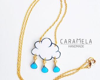 Cloud with rain drops Necklace