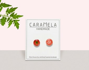 Tomato stud earrings Tomato Earring Stud Earring Post Tomato Jewelry Miniature Food Quirky Tomato Gift