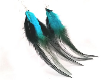 Turquoise Blue & Black Feather Dangle Earrings, Long Feather Earrings MADE TO ORDER