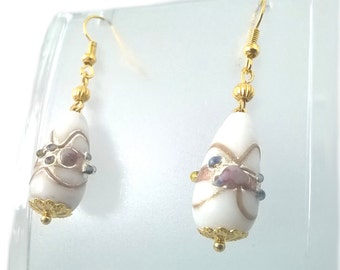 Venetian White/Gold/Red/Blue Ceramic Drop Dangle Earrings, Gift for Her, One of a Kind