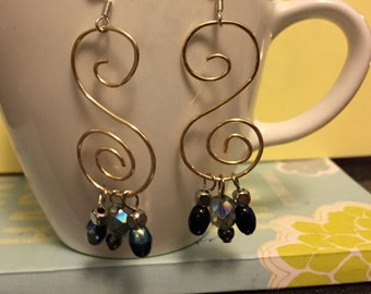Copper Wire Spiral Earrings with Beads