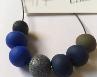Handmade Midnight Polymer Clay Bead Necklace