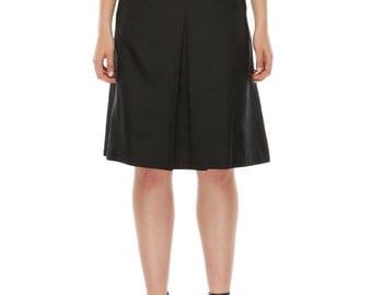 Linda Pleat Skirt- Black Silk Cotton