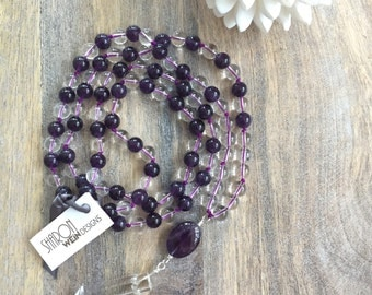 Amethyst 108 Mala Necklace with Sterling Silver Accents / Mala Beads / Knotted Long Amethyst Necklace / Yoga Necklace /Japa Mala