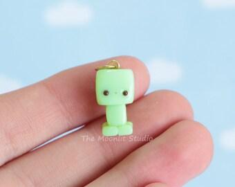 Kawaii Minecraft Creeper Charm, Polymer Clay Miniature
