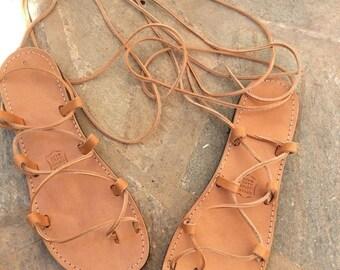 Sale Tie up Greek sandals, Gladiator Sandals, Greek sandals, Handmade, Women's sandals,Adjustable lace, Summer Sandals, Wrap up flats,