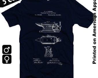 Anvil 1877 Patent T-shirt S-XXL American Apparel, Blacksmith, Craft, Crafts, Tools, Artist, Craftsman, Vintage, Blueprint, Cool Gift!