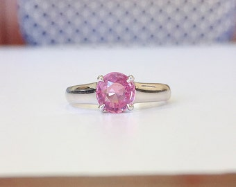 1.27ct Round Pink Sapphire Solitaire in 14K White Gold
