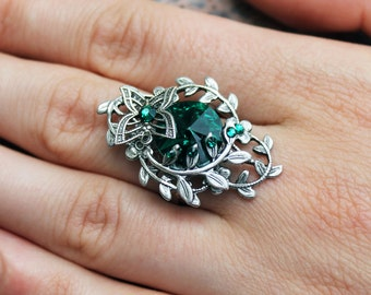 Vintage ring, butterfly ring, green ring, swarovski ring, swarovski jewelry, vintage jewelry