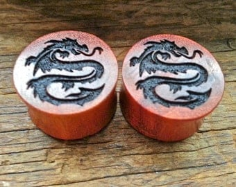 "1 pair (2 pieces) Chang Wood Dragon Plug Gauges 00g 7/16"" 1/2"" 9/16"" 5/8"" 3/4""  10 mm 11 mm 12 mm 14 mm 16 mm 19 mm"