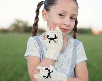 Kids Gloves - Cat Fingerless Gloves - Kids Gift