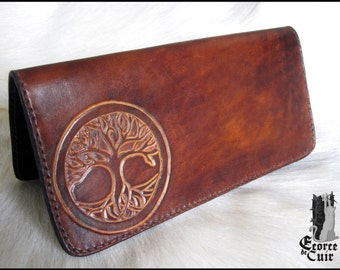 Tree of life leather checkbook holder / Leather checkbook holder Tree of life cover