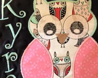 Personalized Owl Minky Blanket