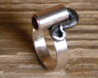 Creature Ring 1 - Sterling Silver and Lab Ruby
