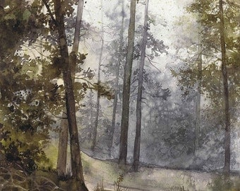 SALE original watercolor forest painting by Katarzyna Kmiecik / landscape painting, watercolor trees, nature art, wet forest path, morning w