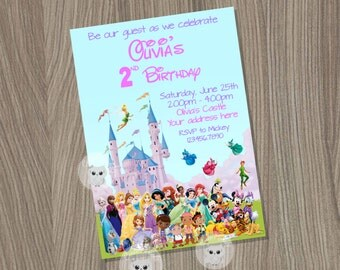 Disney Castle Invitation, Disney Characters Invitation, Disney Princess Invitation, Disney Birthday Party, All Disney Characters invitation
