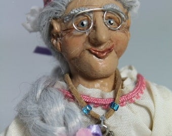 OOAK 1/12th scale Miniature doll Hippie flower child senior citizen older lady