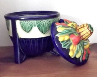 Vintage...Made in JAPAN....Small Condiment Bowl with Lid...3 Legged Pedestal...Blue, Yellow, Red Veggie Theme...COLORFUL...Unique Design