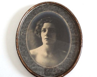 Vintage Art Deco Woman Photo Portrait in Oval Frame - French 1920s 1930s Woman Photo with Boyish Haircut