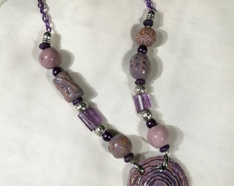Ceramic purple amethyst necklace