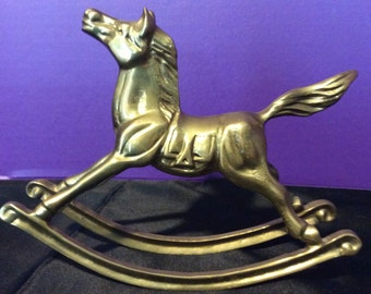 Brass Rocking Horse with Tail Up