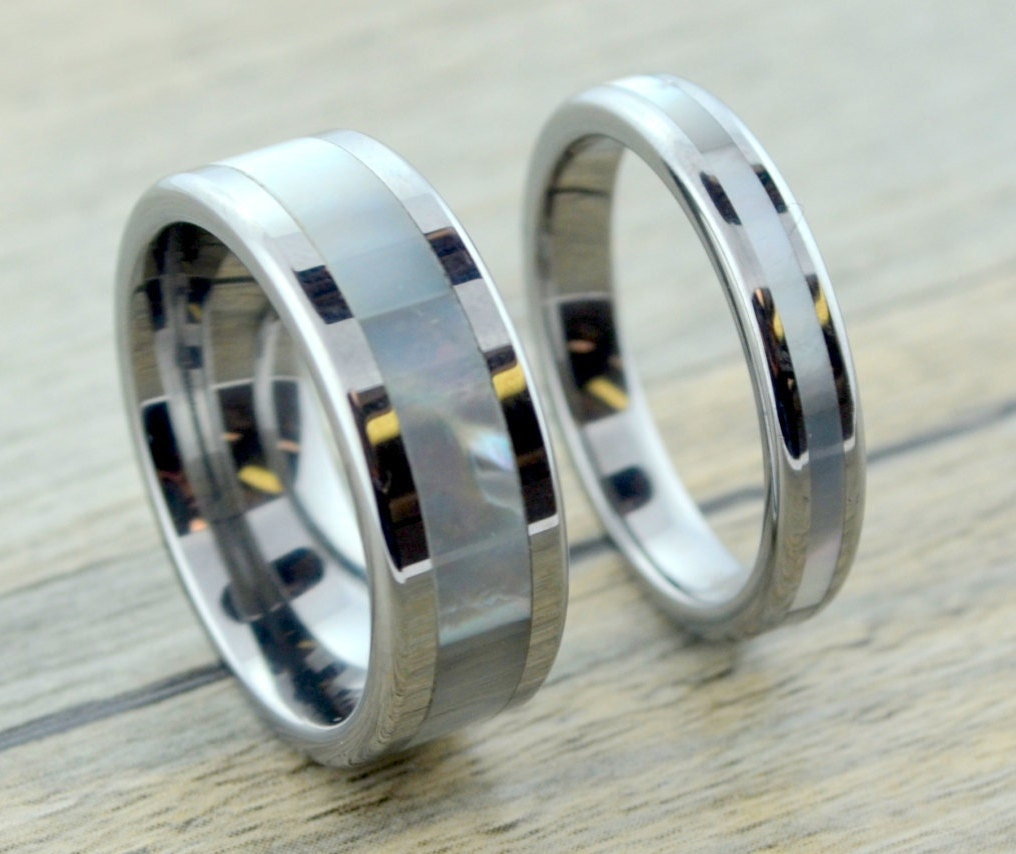 of pearl tungsten wedding band set by