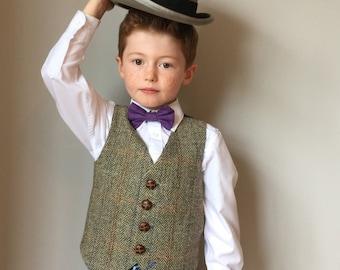 Boys waistcoat handmade in a Harris tweed herringbone by Fred's Finery's  'Rupert' - Harris Tweed