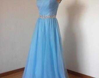 Long Prom Dress, Prom Dress 2016, Cap Sleeves Prom Dress, Blue Prom Dress, Tulle Prom Dress, Cheap Prom Dress