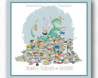 Hoard of Teacups and Saucers PDF cross stitch pattern (Unusual Dragon Hoards series) / instant download