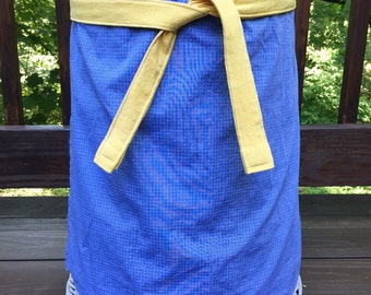 Blue Check and Yellow Pop. Half Apron. Cafe Apron. Upcycled Men's Shirt Half Apron.