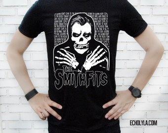 The Smithfits - The Smiths and Misfits Parody - Unisex Black T-Shirt – Screen Printed 100% Cotton.