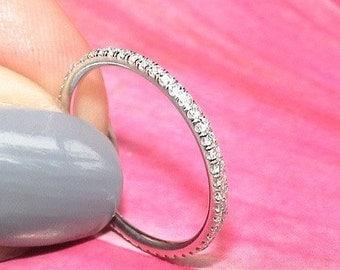 1.5mm Diamond Eternity Wedding Band-0.40 Diamond Ring Thin Wedding Band, Eternity Band, Wedding Ring, Anniversary Wedding Band, Yellow Gold