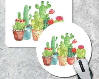 Cactus Mousepad, Floral Mousepad, Watercolor Cactuses, Round Mousepad, Custom Mousepad, Office Decor, Desk Accessory, Coworker Gift Mousepad