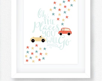 Oh The Places You Will Go Print - Wall Art Print - Digital Wall Art - Printable Wall Art - Instant Download
