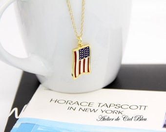 USA Flag Necklace, American Flag Necklace, Gold American Flag Charm Necklace, USA Flag Pendant Necklace, Gold USA Flag Charm