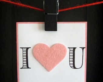 "Handmade & Hand Lettered ""I Heart U"" Pink Greeting Card with Envelope"