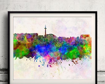 Kyoto skyline in watercolor background - Poster Digital Wall art Illustration Print Art Decorative - SKU 1330