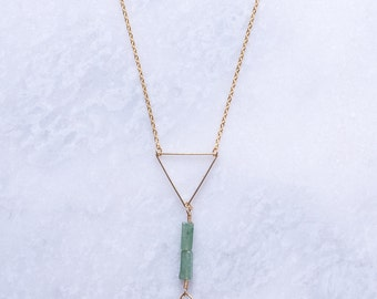 Green Bead with Gold Triangle and Dagger Pendant Necklace