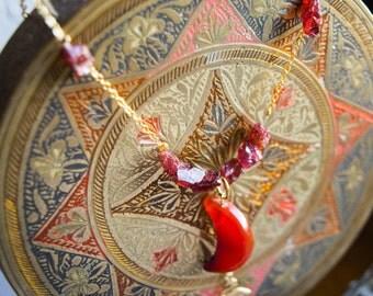 Moon carnelian pendant necklace