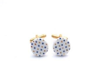 Ceramic Cuff links, groomsmen cufflinks, Polkadot, wedding gift, Handmade Cufflinks, gold cufflinks, Christmas gift for him, porcelain