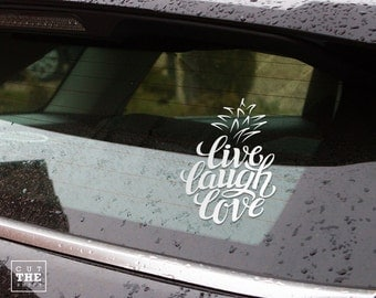Pineapple Sticker - Live laugh love - Laptop Decal - Laptop Sticker - Car Sticker - Car Decal