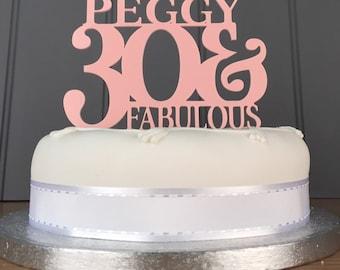 Personalised 30 & Fabulous Cake Topper
