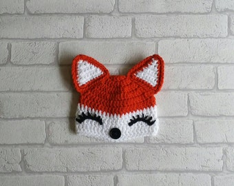 GIRL FOX HAT baby girl hat baby girl fox hat baby knits baby crochet fox hat fox photo prop photography prop Pregnancy Gift baby shower gift