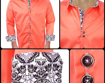 Coral with White and Black Damask Designer Dress Shirt - Made in USA