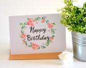 Floral Birthday Card, Happy Birthday Card, Flower Birthday Card, Bday Cards, Gift for Her, Birthday Gift Idea, Pretty Birthday Card for Her