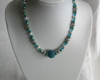 Green & silver-plated necklace, centre feature bead, hand-made, UK shop