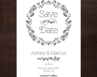 Rustic Handrawn Save the Date, Printable Digital File